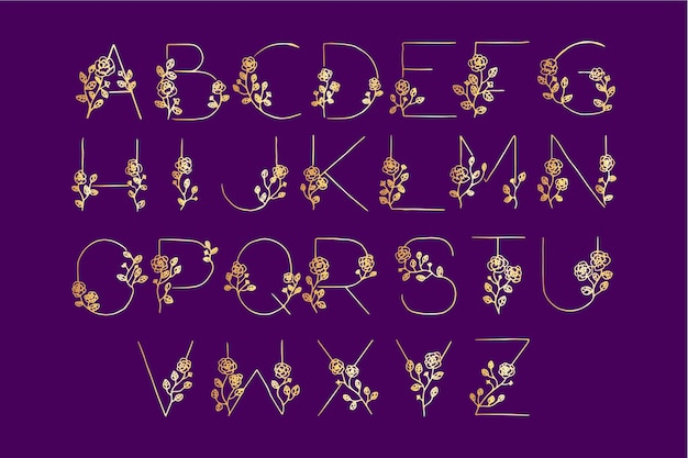 Golden alphabet with flowers