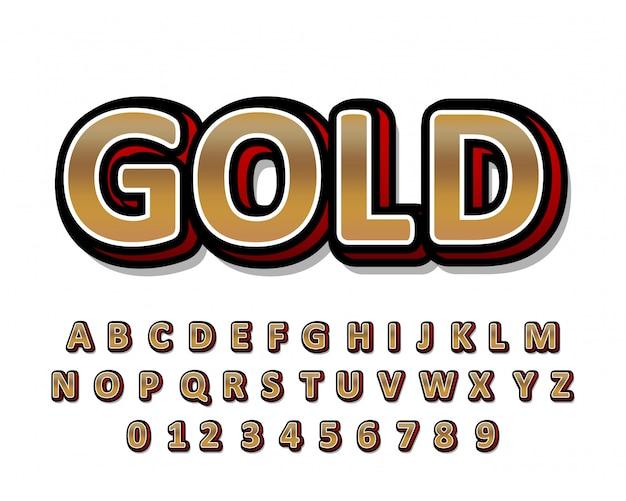Золотой алфавит с красным светом и тенью