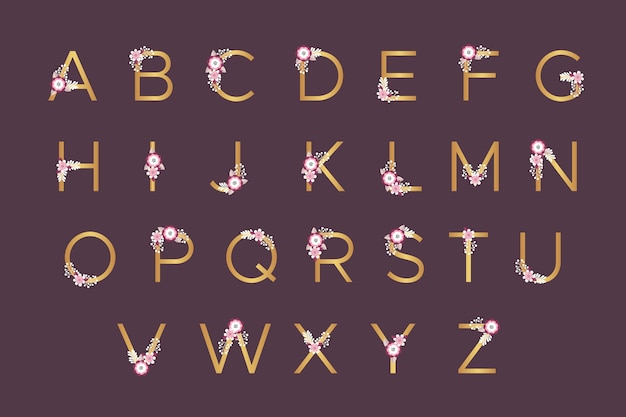 Golden alphabet with spring flowers for wedding