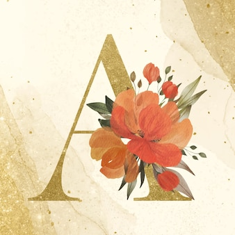 Golden alphabet a with watercolor flower decoration on gold background for branding and wedding logo