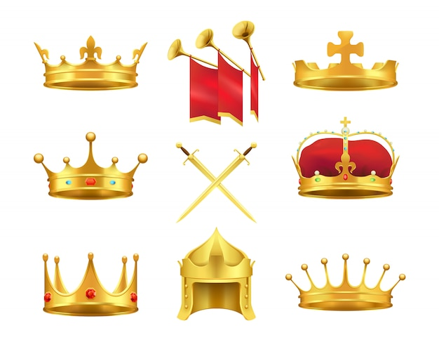 Golden ancient crowns and swords set. vector illustration of caps made of gold
