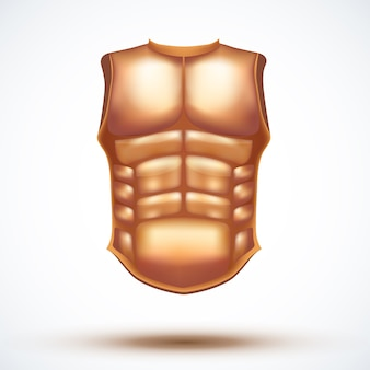 Golden ancient gladiator body armor.  illustration  on white background.
