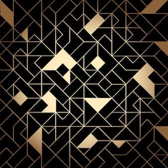 빛나는 선과 모양으로 황금색과 검은색 아트 데코 원활한 패턴 배경. 빈티지 골드 기하학적 줄무늬, 벡터 우아한 복고풍 질감 또는 결혼식 장식을 위한 배경