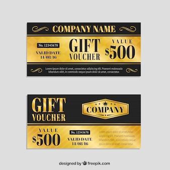 ヴィンテージデザインの黄金と黒のギフト券