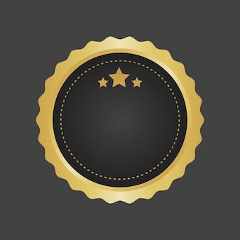 Золотой и черный роскошный металлический значок шаблона вектор.