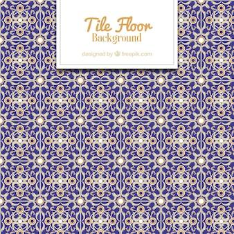 Золотой и голубой плиткой пол