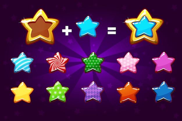 Золотая и цветная звезда для повышения уровня. элементы графического интерфейса иконки для игры