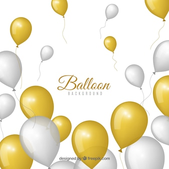 Golden and gray balloons background to celebrate