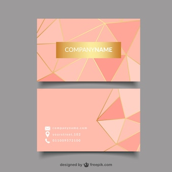 Golden and pink business card