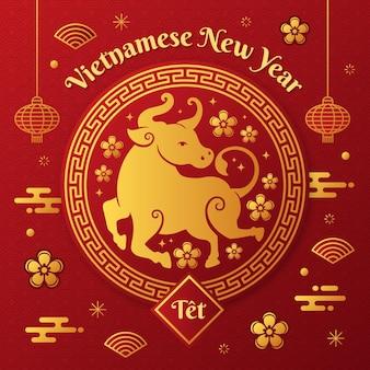 황금과 붉은 행복한 베트남 새해 2021