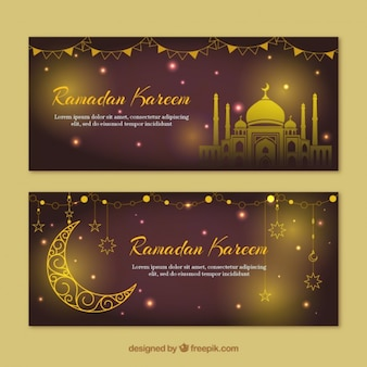 Golden and shiny ramadan banners