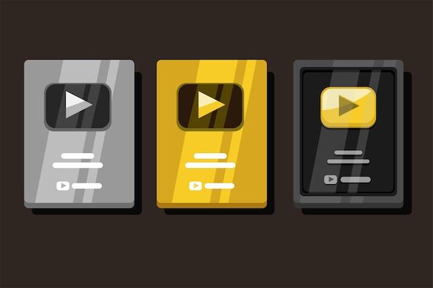 실버 및 골드 세트의 골든 및 실버 재생 버튼 비디오 스트리밍 채널 상