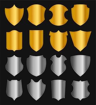 황금과 은색 보호 쉴드 세트. 다른 금속 기사의 방패 모양. 검은 그림에 고립 된 그림입니다.
