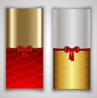Golden and silver with a red bow banners