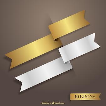Золотые и белые векторные ленты