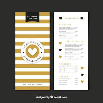 Шаблон меню из золотого и белого валентина