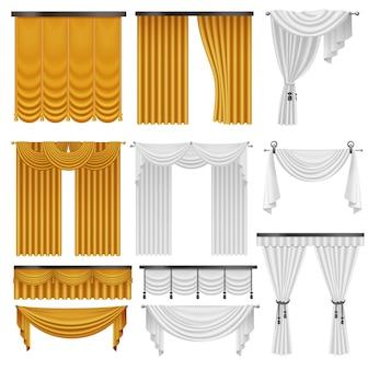 金色と白のベルベットのシルクのカーテンとカーテンのセット。インテリアの現実的な高級カーテンの装飾デザイン。