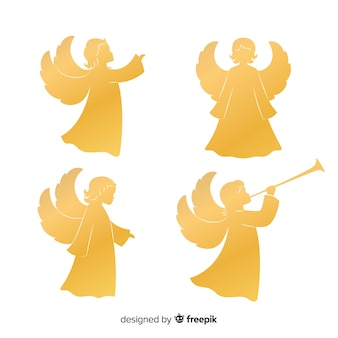 Golden angel silhouettes