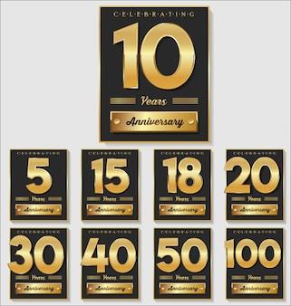 Golden anniversary banner illustration collection