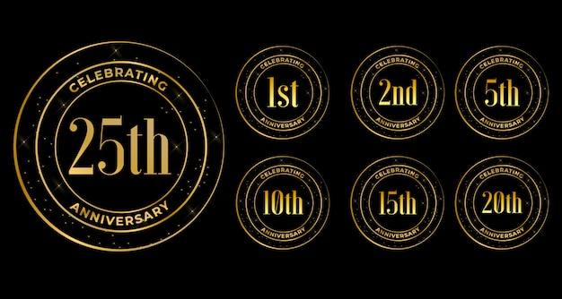 Golden anniversary celebration labels set