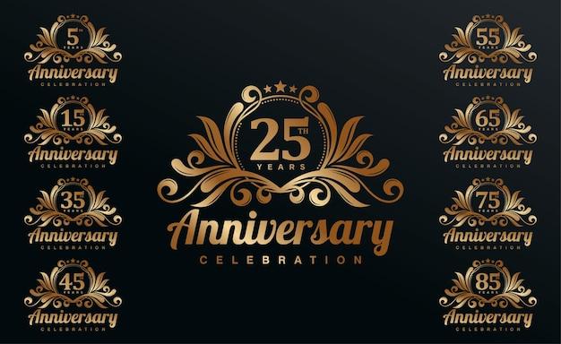 Golden anniversary celebration logotype set