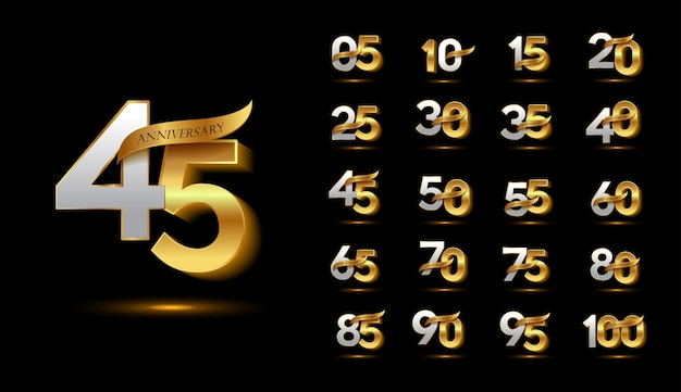 Golden anniversary celebration logotype set