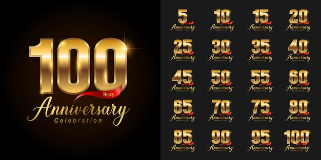 Golden anniversary celebration logotype set.