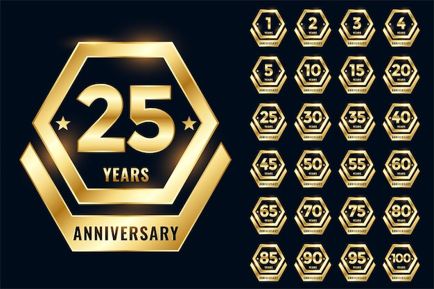 Golden anniversary label emblem set