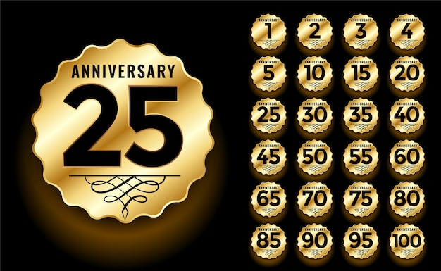 Golden anniversary label and emblems logotype set