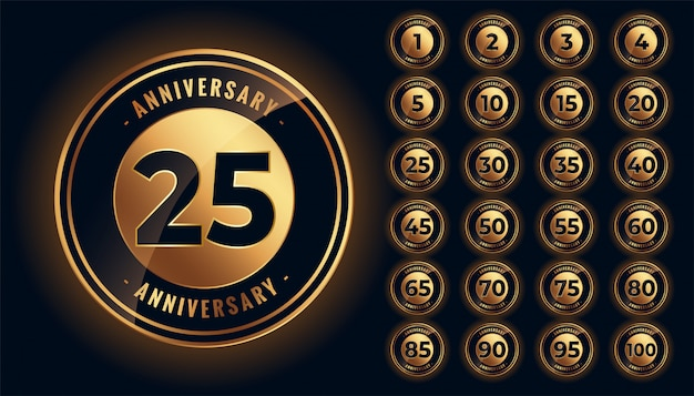 Golden anniversary labels and emblems big set