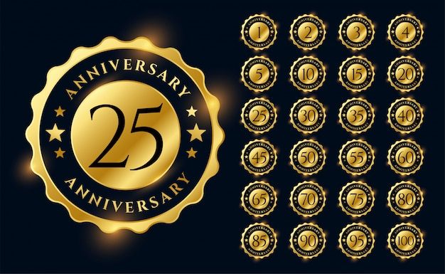 Golden anniversary labels logotype emblems big set