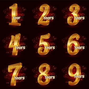 Golden anniversary numbers set. 3d logo celebration with gold glittering spiral star dust trail sparkling particles.