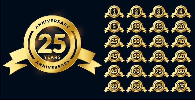 Golden anniversary shiny labels or emblems big set