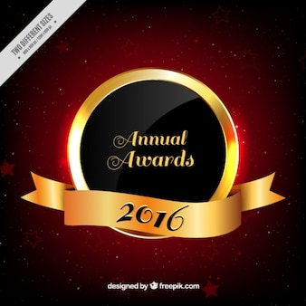 Golden annual award 2016 with ribbon