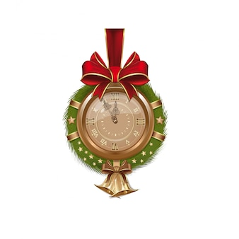 Golden antique clock inside christmas fir wreath with bells. christmas bouquet for decoration design.