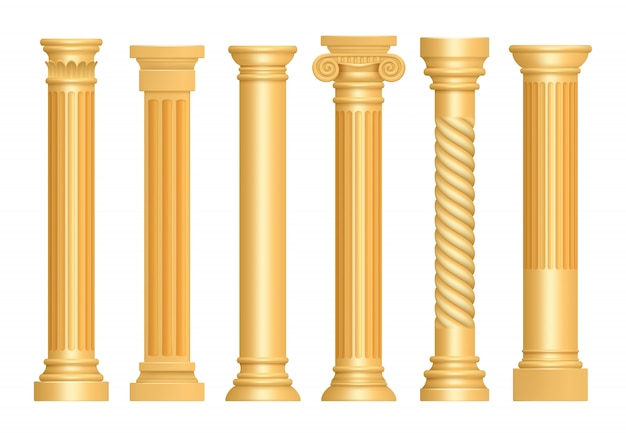 Golden antique column. classic roman pillars architectural art sculpture pedestal vector realistic