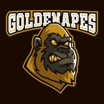 Golden apes sign and symbol logo vector