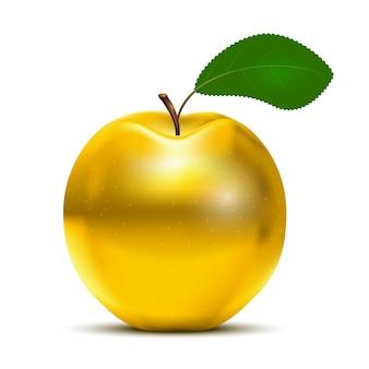 고립 된 녹색 잎과 황금 사과