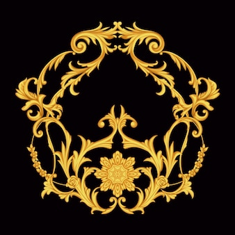 Golden arabesque with floral motif on white background