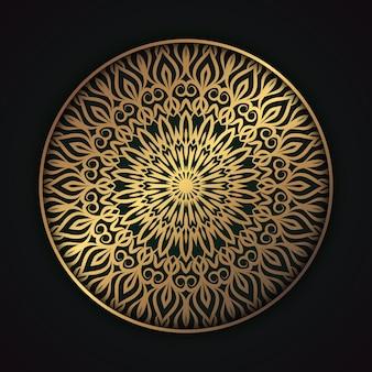 황금 아라비스 스타일 이슬람 배경 럭셔리 만다라 황금 장식