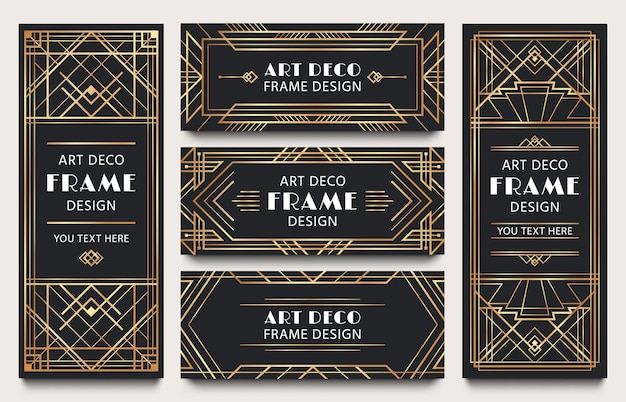 Golden art deco banner frames. geometric gold lines frame, luxury decorative corners and premium label