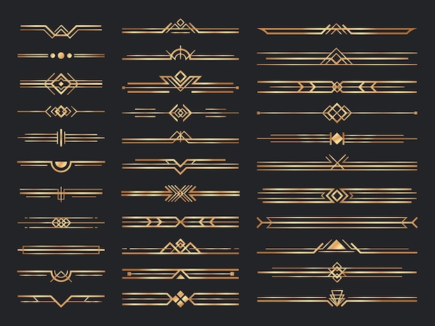Golden art deco dividers. vintage gold ornaments, decorative divider and 1920s header ornament