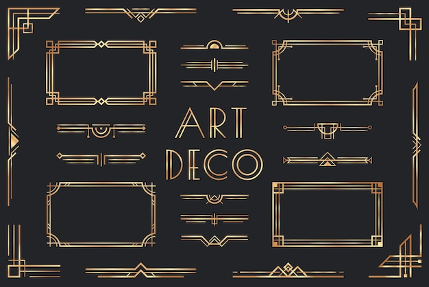 Golden art deco elements.