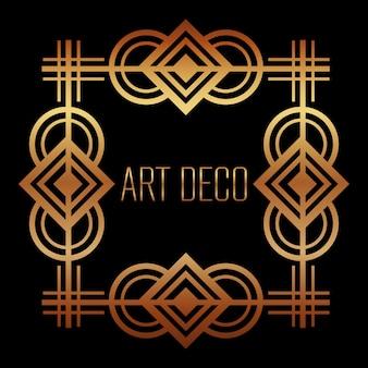 Golden art deco frame royal decorative geometric