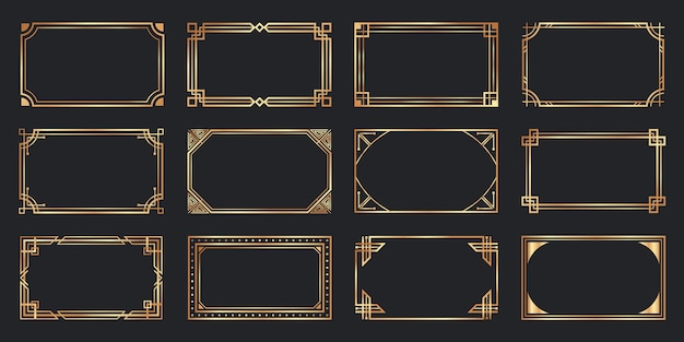 Golden art deco frames