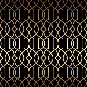 Golden art deco linear seamless pattern, black and gold colors