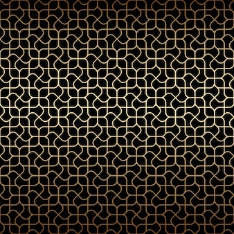 Golden art deco linear seamless pattern with stylized flowers ,black and gold colors