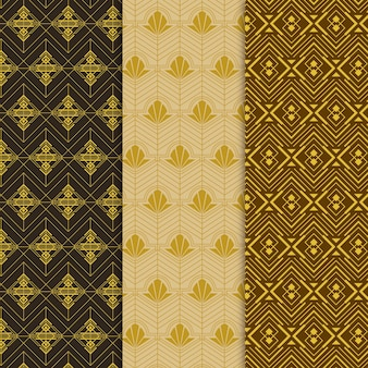 Golden art deco pattern pack
