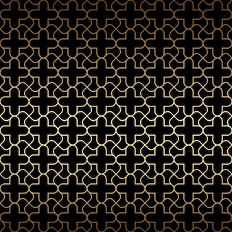 Golden art deco seamless pattern, black and gold colors