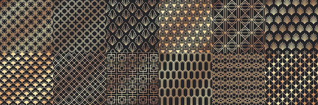 Golden art deco seamless patterns.